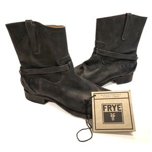 Frye black harness short boots